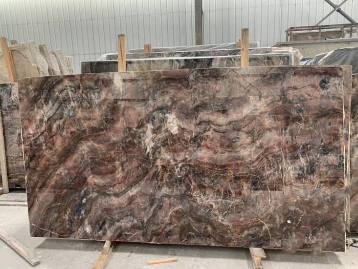 泰龙石材:矿山直销奥利红玉荒料,大板红色大理石