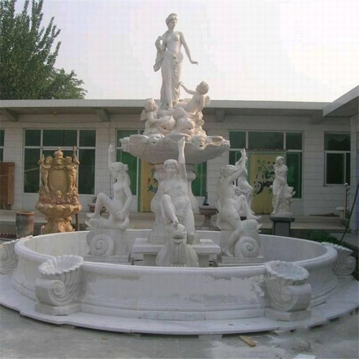 大理石景观简约喷泉 石雕小区流水喷泉雕塑摆件