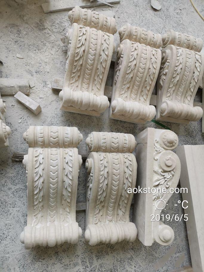 沉香米黃~別墅外墻干掛石材雕刻加工