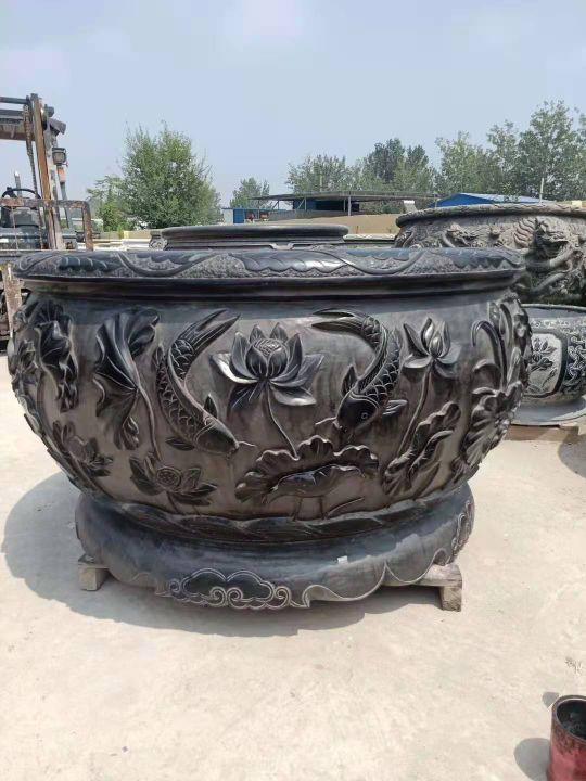 仿古青石魚缸聚寶盆,青石仿古石雕