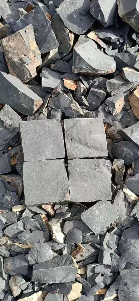 中国黑漳浦黑安山岩手加工六面自然小方块