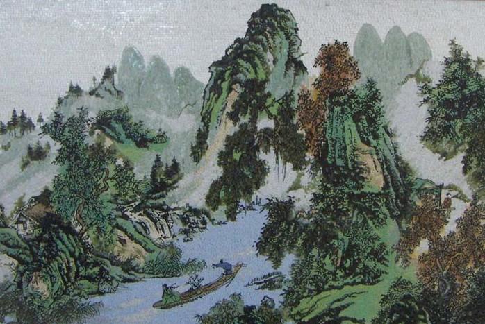 大理石馬賽克繪制意境山水畫