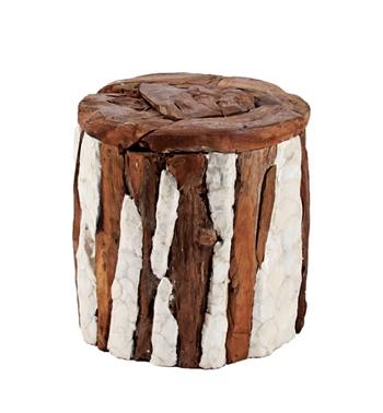 乳白色大理石拼湊驚艷環保木樁凳