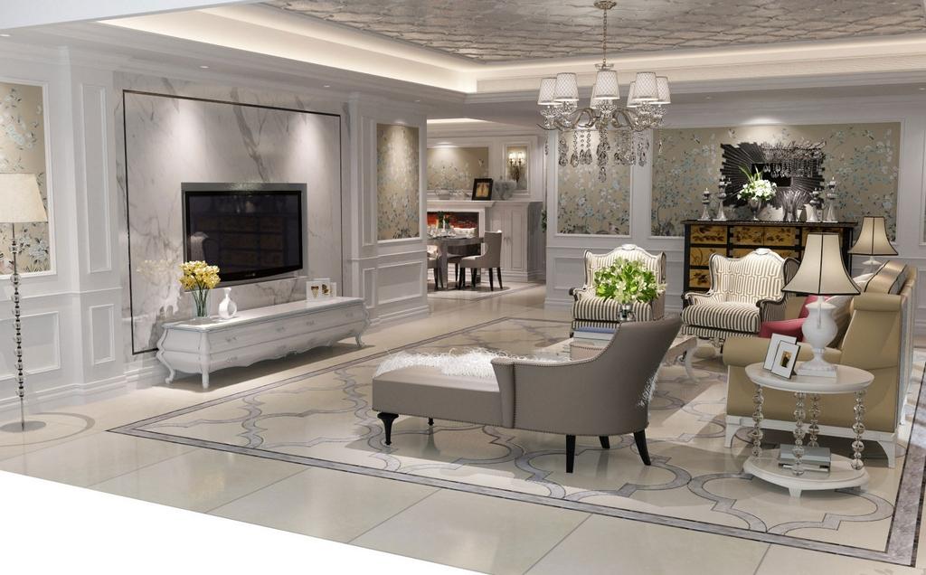 白色大理石营造浪漫清新的法式家居