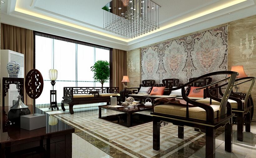大理石演绎现代化的中国风装修