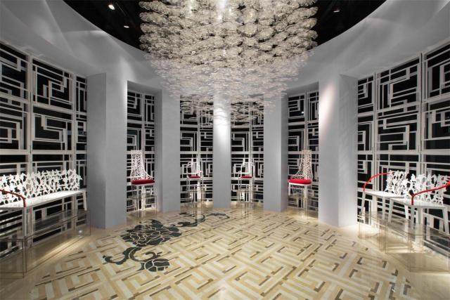 大理石镶嵌无限回纹的中国风展厅 | 石材装修