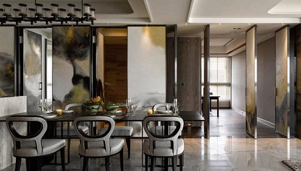 北欧家居餐厅的大理石地面装修