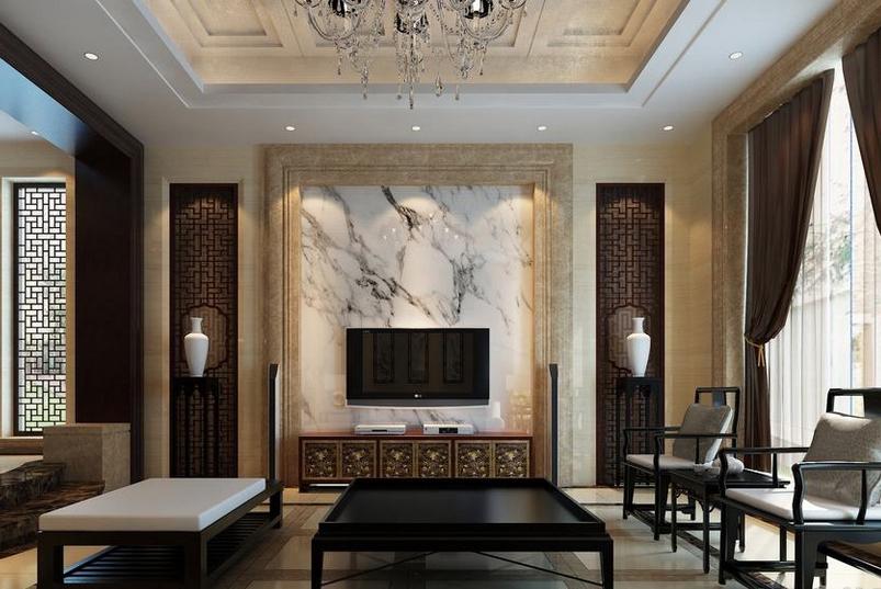 红木沙发身后的背景墙选择用图案奇特的石材拼贴而成