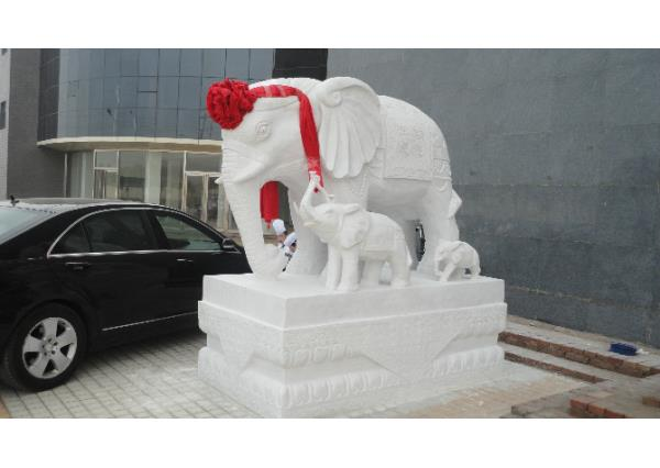 漢白玉大象廠家_漢白玉石象(圖片)