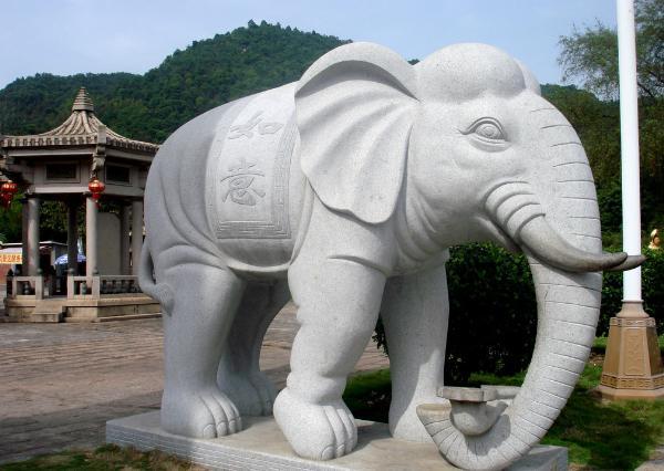 汉白玉大象厂家_汉白玉石象(图片)
